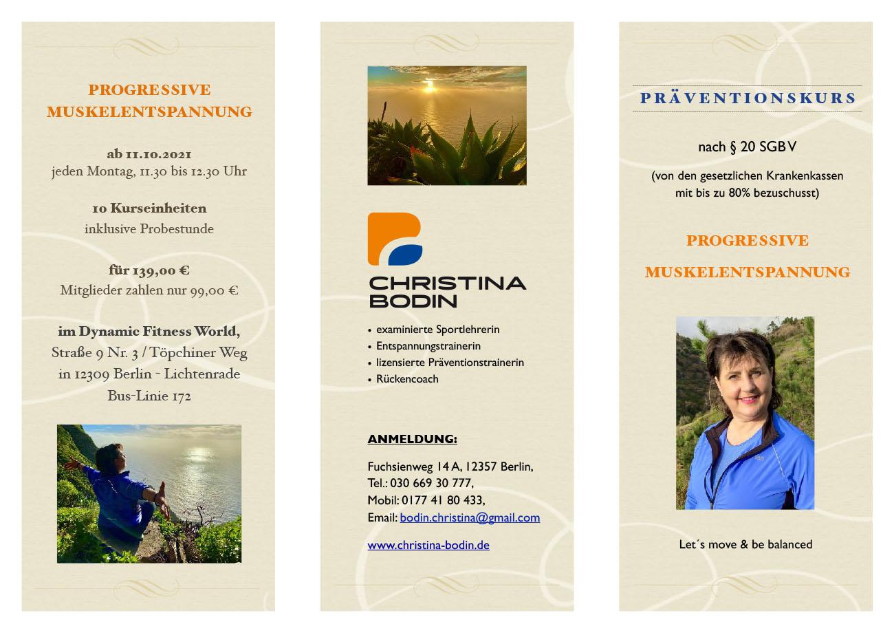 Christina Bodin - Präventionskurs PME Kurs 1